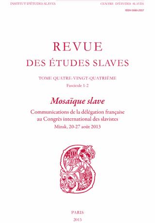 REVUE DES ETUDES SLAVES