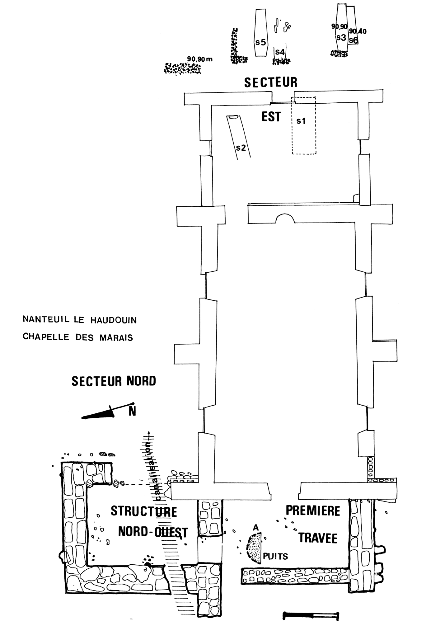 a ground plan of the chapel showing where burials were uncovered and evidence of previous buildings found during archaeological excavations
