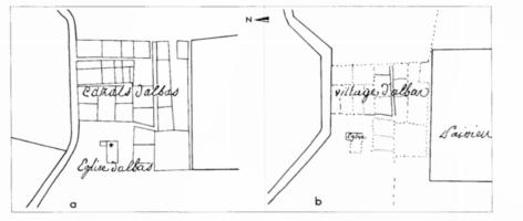 Fig. 3 Saint-Jacques d'Albas (commune de Laure- Minervois) : mentions et représentations du site sur deux plans du XVIIIe s., ADA IV F 198-1 ; sans échelle (D. Baudreu del.)
