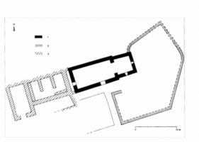 Fig. 4 Notre-Dame de la Lauze (commune de Villarzel- Cabardès) : plan de l'église pré-romane et des structures associées