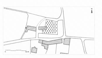 Fig. 5 Saint-Martin de Poursan (hameau de Montredon, commune de Carcassonne) d'après le cadastre du XIXe s. (D. Baudreu del.)