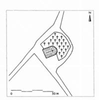 Fig. 6 Saint-Vincent (commune de Castelnau-d'Aude) d'après le cadastre du XIXe s. (D. Baudreu del.)