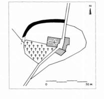 Fig. 9 Saint-Just (commune d'Escueillens-et- Saint-Just-de-Bélengard) : trace de fossé repérée sur photo aérienne verticale (IGN, mission Montréjeau-Mirepoix 1953, n° 169) et positionnée sur le cadastre du XIXe s. (D. Baudreu del.)