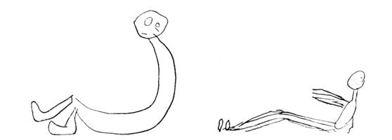 Le dessin du personnage par l 39 enfant ses tapes et ses - Dessin bonhomme assis ...
