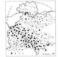 Fig. 2. Répartition par communes des planteurs de tabac dans le Marmandais