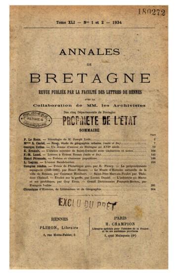 Poésies Et Chansons Populaires Bretonnes Sur Les Affaires