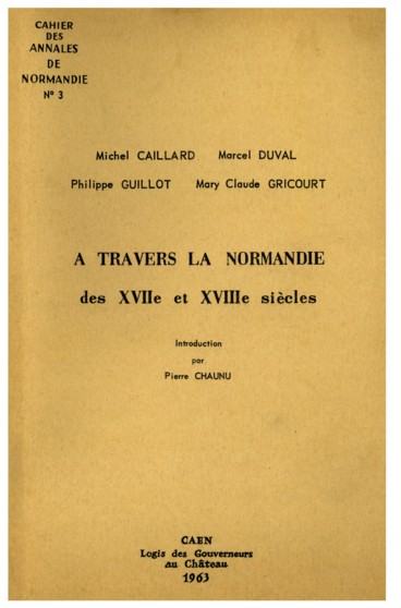 Introduction   Cahier des Annales de Normandie