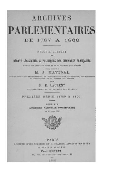 Etat Nominatif Des Pensions Sur Le Tresor Royal Septieme Classe En Annexe De La Seance Du 21 Avril 1790