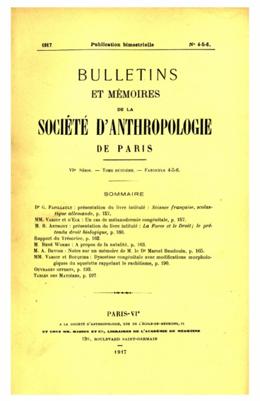 Table des Travaux Originaux