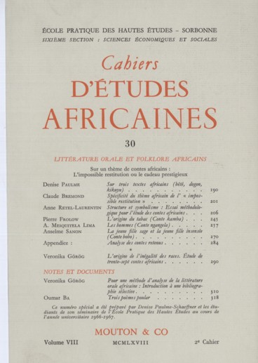 Pour Une Methode D Analyse De La Litterature Orale Africaine