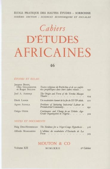 The Origin and Form of the Yoruba Masque Theatre  - Persée