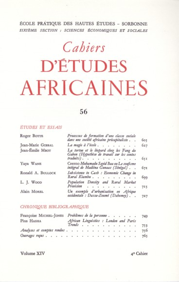 Cahiers d 39 tudes africaines vol 14 n 56 1974 pers e - Difference entre sommaire et table des matieres ...