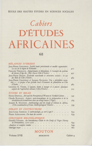 Anthropology and the Study of Schism in Africa  A Re