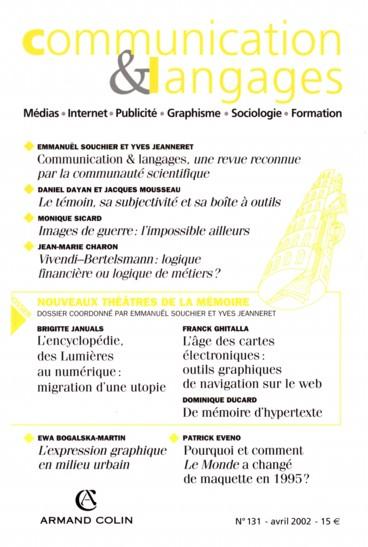 Communication and Langages, une revue reconnue par la communauté scientifique