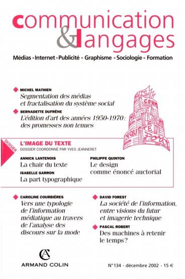 La part typographique. Pour une anthropologie de la page imprimée. Premières balises