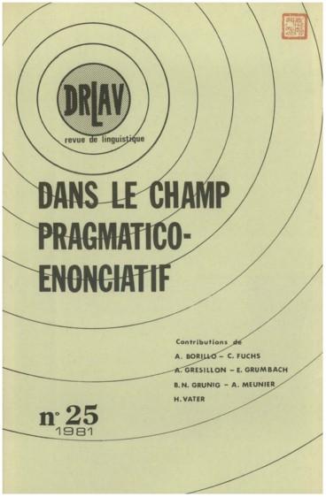 Grammaires du français et modalités. Matériaux pour l