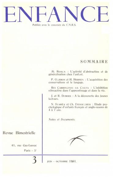 Etude psychologique denfants français et anglo-saxons de 4 à 7 ans.