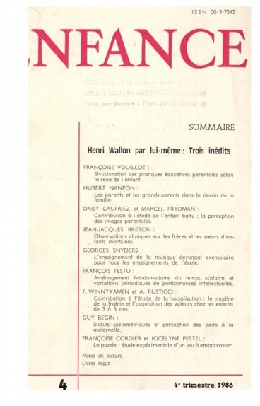 Statuts sociométriques et perception des pairs à la maternelle.
