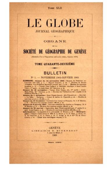 Planche hors texte    Le Globe. Revue genevoise de géographie