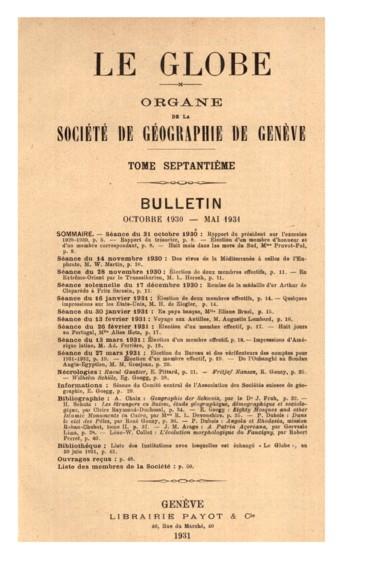 Liste des Institutions avec lesquelles est échangé « Le Globe », au 30 juin 1931