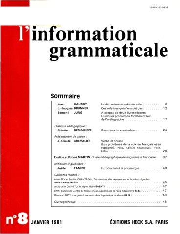 Verbe Et Phrase Les Problemes De La Voix En Francais Et En Espagnol Paris Editions Hispaniques 1978 Persee