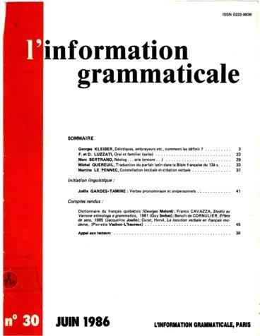 Introduction A La Syntaxe Suite Le Verbe Pronominaux Et Unipersonnels Persee