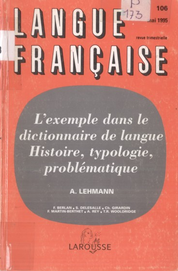Langue fran aise n 106 1995 l 39 exemple dans le - Dictionnaire de l office de la langue francaise ...