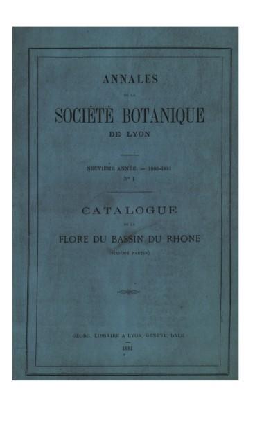 Catalogue Des Plantes Vasulaires Bassin Du Rhone Sixieme Partie