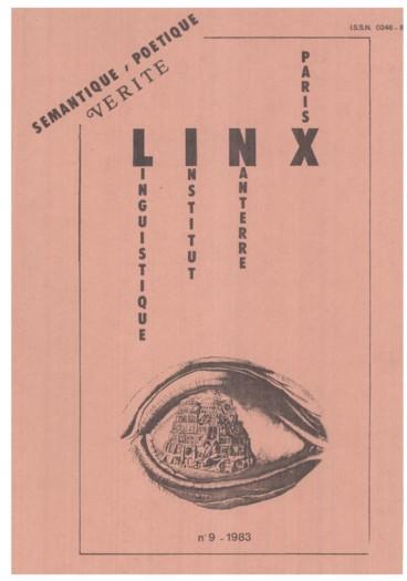 Présentation du numéro 1 de la revue Lexique adverbes en ment, 1982