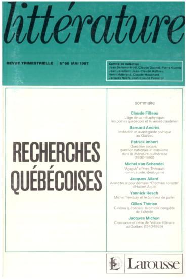 Lâge De La Métaphysique Les Poètes Québécois Et Le Verset