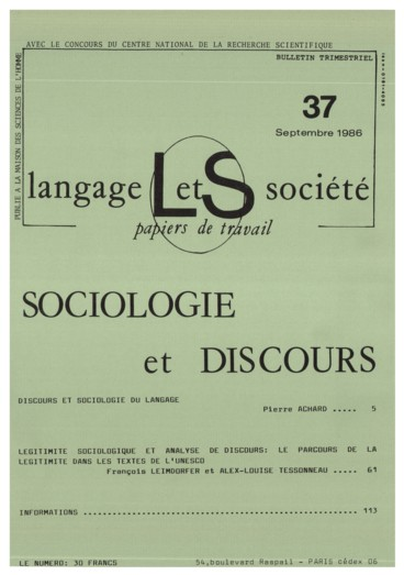 Discours Et Sociologie Du Langage Persee