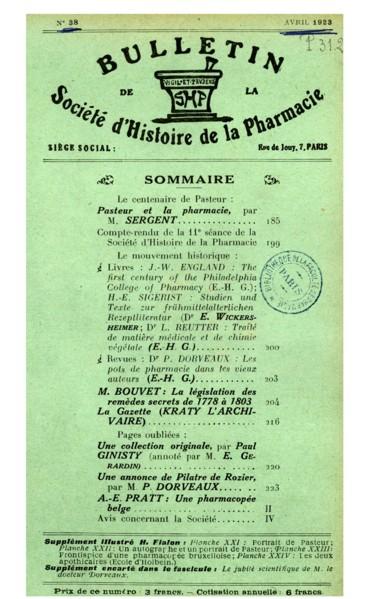 Le Centenaire De Pasteur Pasteur Et La Pharmacie Persée