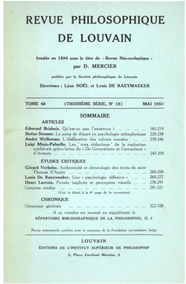Louis-Marie Régis, Lodyssée de la métaphysique