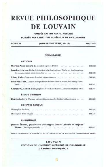 La foi aujourdhui   Revue Philosophique de Louvain
