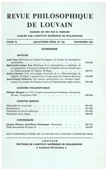 Jacques Schlanger, La structure métaphysique