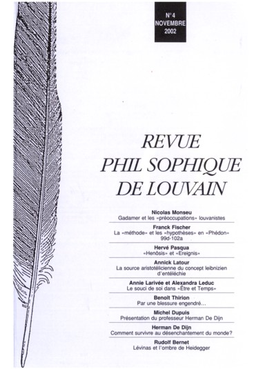 Présentation Du Professeur Herman De Dijn Louvain La Neuve