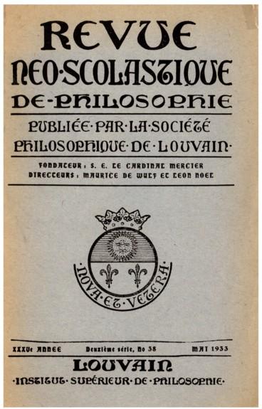 Chronique   Revue néo-scolastique de philosophie