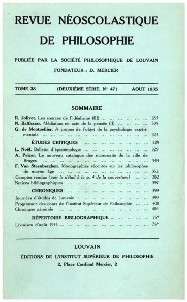 P. Hoenen, De origine formae materialis
