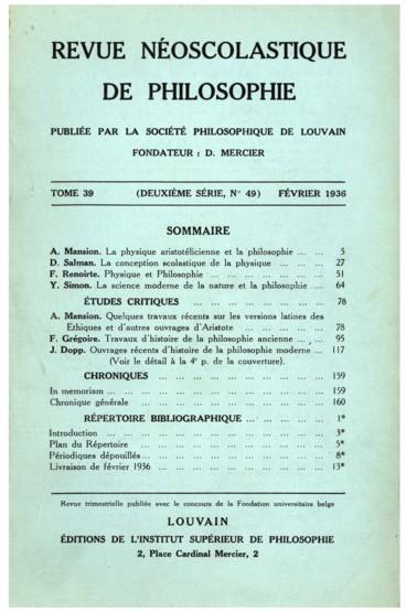 In memoriam    Revue néo-scolastique de philosophie