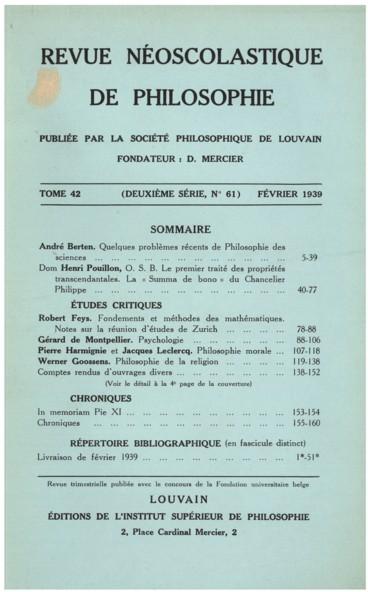 Lesprit et la vie   Revue néo-scolastique de philosophie