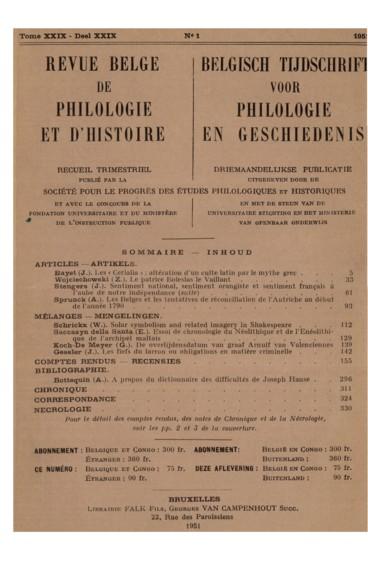 Les Belges et les tentatives de réconciliation de lAutriche au début de lannée 1790