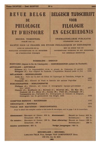 Note sur la date du début de lépiscopat de Théoduin, évêque de Liège