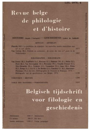 Bibliographie De L Histoire De Belgique Bibliografie Van De Geschiedenis Van Belgie 1974 Persee