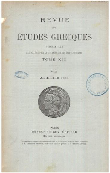Bibliographie Annuelle Des Etudes Grecques 1897 98 99 Persee
