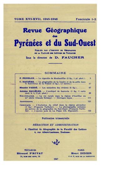 La géographie de la foudre et de la grêle dans le Sud-Ouest de la France A suivre