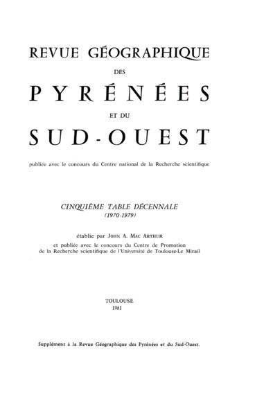 Avertissement   Revue géographique des Pyrénées et du Sud-Ouest