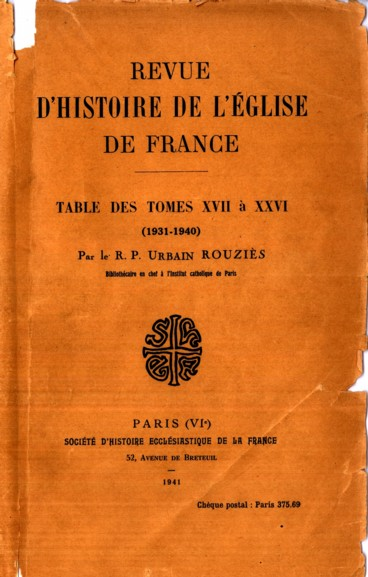 Table des tomes XVII à XXVI (1931-1940) - Persée