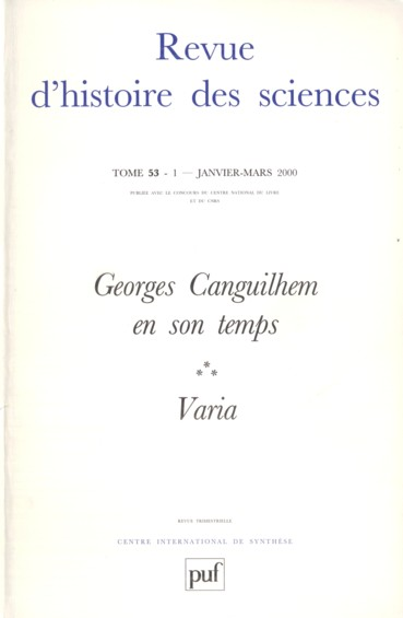 The Philosophy Of Science Of Georges Canguilhem A Transatlantic