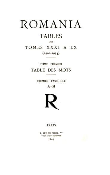 Table des mots - Persée