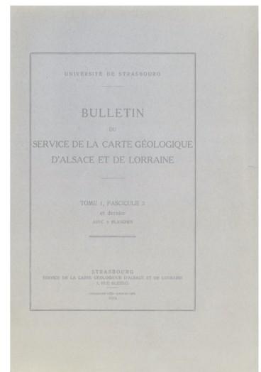 Carte Calcaire Alsace.Bulletin Du Service De La Carte Geologique D Alsace Et De